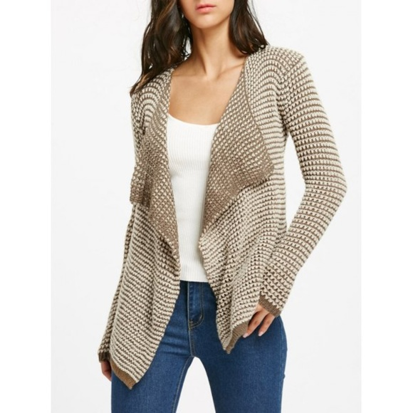 Sweaters - LAST ONE! Khaki Open Front Crotchet Cardigan